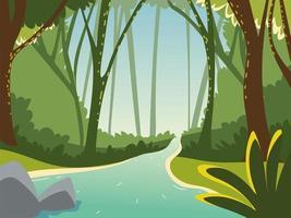paisagem floresta e água vetor