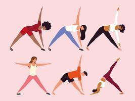 pessoas em diferentes poses de ioga vetor