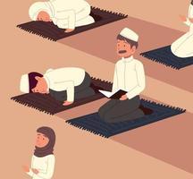 muçulmanos orando na mesquita vetor