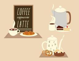 cafeteria, chaleira, xícaras, menu de bolo e croissant vetor