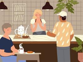 personagem barista vende café para clientes vetor