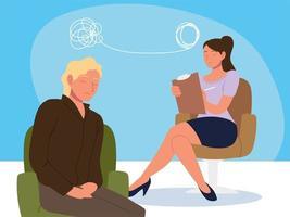 mulher psicóloga e paciente vetor
