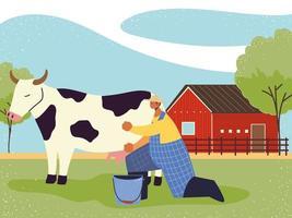 fazenda e agricultura, fazendeiro ordenha a vaca vetor