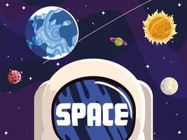 capacete de astronauta espacial, planetas, sol, lua, asteróide, sistema solar vetor