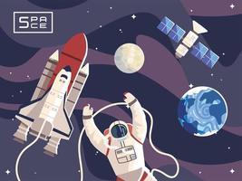 astronauta espacial, nave espacial, lua, planeta, exploração de satélite vetor