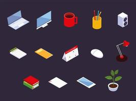 ícones de espaço de trabalho de escritório, computador, laptop, calendário, smartphone, xícara de café e livros vetor