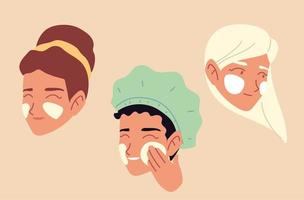 mulheres aplicando creme no rosto cuidando da pele vetor