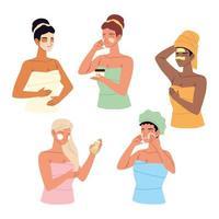 mulheres jovens enroladas em uma toalha, aplicar diferentes máscaras cosméticas, cuidados com a pele vetor