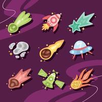 coleção de ícones de meteoros espaciais vetor