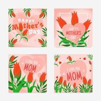 cartões de agradecimento para a mãe vetor