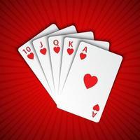 um royal flush de corações em fundo vermelho, mãos vencedoras de cartas de pôquer, cartas de cassino vetor