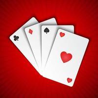 vetor de cartas de jogar em fundo vermelho