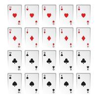 conjunto de royal flushes isolado no fundo branco, copas, paus, ouros e espadas, cartas de jogar de cassino vetor