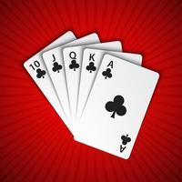 um royal flush de clubes em fundo vermelho, mãos vencedoras de cartas de pôquer, cartas de jogar de cassino vetor