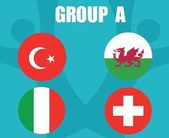 times de futebol europeu 2020.grupo a países bandeiras turquia wales itália suíça.e final de futebol europeu vetor