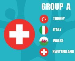 times de futebol europeu 2020.grupo a bandeira da suíça.e final do futebol europeu vetor