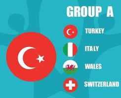 times de futebol europeu 2020.grupo uma bandeira da Turquia.e final do futebol europeu vetor