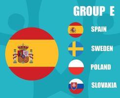 times de futebol europeu 2020.grupo e bandeira de espanha.e final de futebol europeu vetor