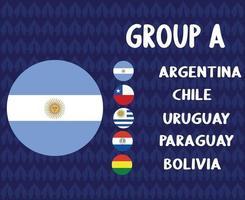 times de futebol da América Latina 2020.grupo a bandeira da argentina. final do futebol americano da latina vetor