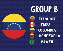 América Latina Futebol 2020 times.grupo b venezuela bandeira.america latina futebol final vetor