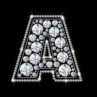 letra do alfabeto a feita de fonte de joias de diamantes brilhantes e brilhantes ilustração em vetor estilo realista 3d
