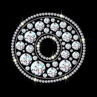 letra do alfabeto o feito de fonte de joias de diamantes brilhantes e brilhantes ilustração em vetor estilo realista 3d