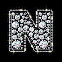 letra n feita de fonte de joias de diamantes brilhantes e brilhantes ilustração em vetor estilo realista 3d