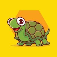 desenho animado bonito tartaruga sorridente rastejando no fundo do hexágono vetor