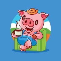 desenho animado fofo porco sentado no sofá, saboreando um café quente no fundo da natureza vetor