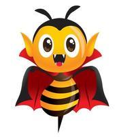 desenho animado fofa abelha com fantasia de drácula para o dia das bruxas vetor