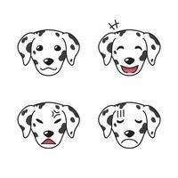 conjunto de caras de cachorro dálmata mostrando emoções diferentes vetor