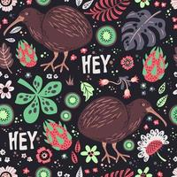 Vector ilustrações desenhadas à mão plana. padronizar. pássaro kiwi com plantas e flores.