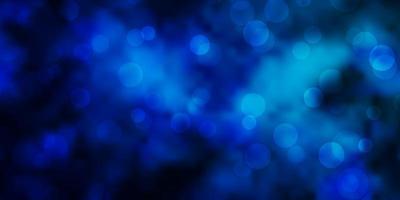 layout de vetor azul escuro com círculos abstratos discos coloridos em design de fundo gradiente simples para seus comerciais