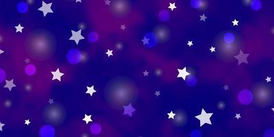 pano de fundo de vetor roxo claro com estrelas de círculos, discos coloridos estrelas em design de fundo gradiente simples para fabricantes de tecido de papel de parede