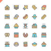 Os ícones dos elementos da loja da padaria da linha lisa ajustaram-se para o Web site e local móvel e apps. Design de ícones de contorno. 48x48 Pixel Perfeito. Pacote de pictograma linear. Ilustração vetorial.