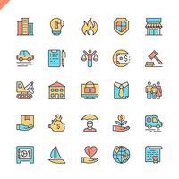 Ícones de seguros de linha plana definida para site e site móvel e apps. Design de ícones de contorno. 48x48 Pixel Perfeito. Pacote de pictograma linear. Ilustração vetorial. vetor