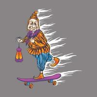 vovó com skate vetor