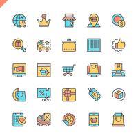 Linha plana e-commerce, compras on-line e ícones de elementos de entrega definido para site e site móvel e apps. Design de ícones de contorno. 48x48 Pixel Perfeito. Pacote de pictograma linear. Ilustração vetorial.