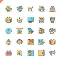 Shoppings de linha plana, varejo ícones definido para site e site móvel e apps. Design de ícones de contorno. 48x48 Pixel Perfeito. Pacote de pictograma linear. Ilustração vetorial.