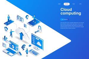 Conceito isométrica de moderno design plano de computação em nuvem. Conceito de tecnologia e pessoas de negócios. Modelo de página de destino. Ilustração isométrica conceptual do vetor para a Web e o projeto gráfico.