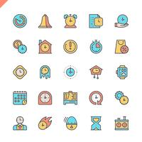 Ícones de tempo linha fixa definido para site e site móvel e apps. Design de ícones de contorno. 48x48 Pixel Perfeito. Pacote de pictograma linear. Ilustração vetorial.