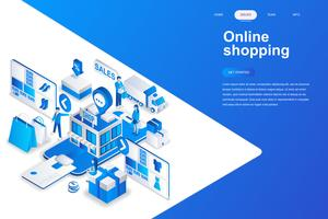Compras on-line moderno design plano isométrico conceito. Venda, consumismo e conceito de pessoas. Modelo de página de destino. Ilustração isométrica conceptual do vetor para a Web e o projeto gráfico.