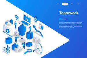 Conceito isométrica do trabalho em equipe design plano moderno. Conceito de liderança e pessoas. Modelo de página de destino. Ilustração isométrica conceptual do vetor para a Web e o projeto gráfico.