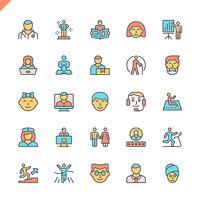 Ícones de pessoas de linha plana definido para site, site móvel e apps. Design de ícones de contorno. 48x48 Pixel Perfeito. Pacote de pictograma linear. Ilustração vetorial. vetor