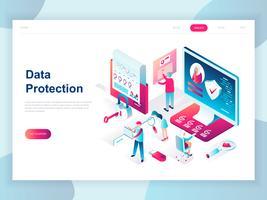 Conceito isométrico moderno design plano de proteção de dados para banner e site. Modelo de página de aterragem isométrica. Verificação de cartão de crédito e dados de acesso ao software como confidenciais. Ilustração vetorial.