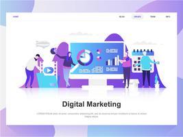 Conceito de design plano moderno de marketing digital. Modelo de página de destino. Conceitos de ilustração vetorial plana moderna para a página da web, site e site móvel. Fácil de editar e personalizar.