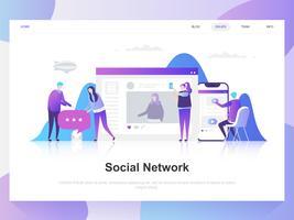 Conceito de design plano moderno de rede social. Modelo de página de destino. Conceitos de ilustração vetorial plana moderna para a página da web, site e site móvel. Fácil de editar e personalizar. vetor