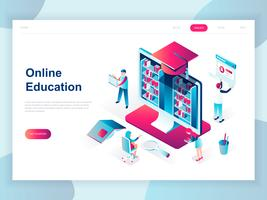 Conceito isométrico moderno design plano de educação on-line para banner e site. Modelo de página de aterragem isométrica. Cursos de treinamento on-line, especialização, estudos universitários. Ilustração vetorial.