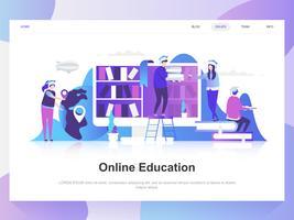 Conceito de design plano moderno de educação on-line. Modelo de página de destino. Conceitos de ilustração vetorial plana moderna para a página da web, site e site móvel. Fácil de editar e personalizar. vetor