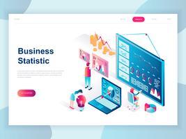 Conceito isométrico moderno design plano de estatística de negócios para banner e site. Modelo de página de aterragem isométrica. Consultoria para desempenho da empresa, análise. Ilustração vetorial.